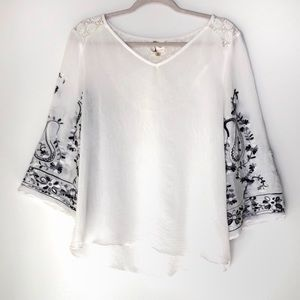 FIG AND FLOWER. White sheer embroidered blouse